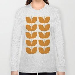 Mid Century Modern Leaves Orange Long Sleeve T-shirt