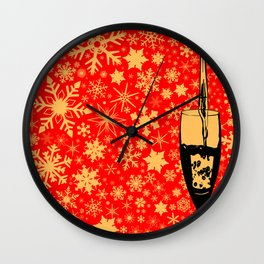 Pouring Christmas Wine Wall Clock