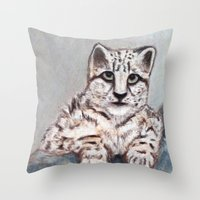 snow leopard Throw Pillows featuring Snow Leopard by RakMeowww