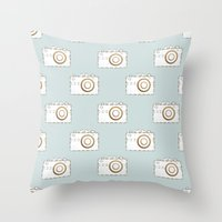 vintage camera Throw Pillows featuring Camera by Little Owl Oddities