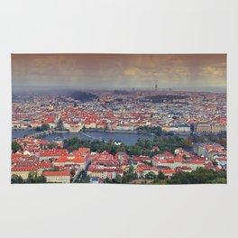 Panorama of Prague with Vltava river Rug