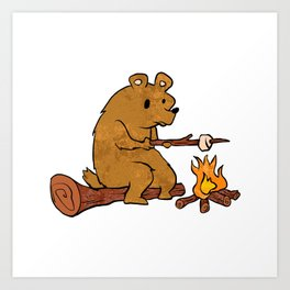 bear roasting marshmallows. Art Print