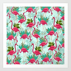 Pink Flamingos Exotic Birds Art Print