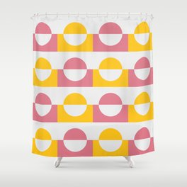 Modern abstract circles geomteric art  - pink and yellow Shower Curtain