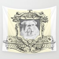 bulldog Wall Tapestries featuring Bulldog  by Christopher Pugh