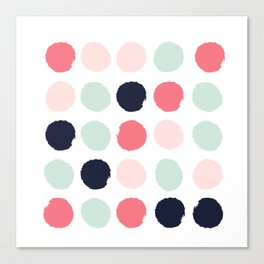 Painted dots trendy color palette minimal polka dots decor nursery home Canvas Print