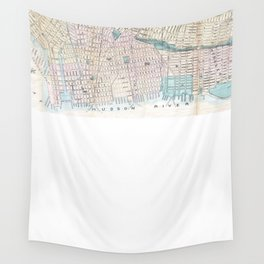 Vintage Map of Jersey City and Hoboken (1886) Wall Tapestry