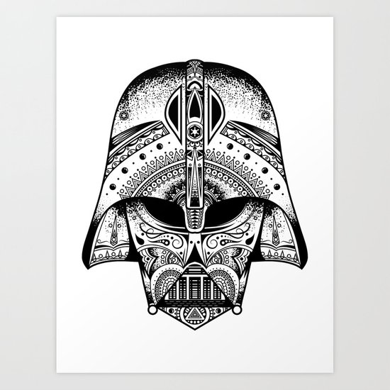 mandala darth vader black the big baddy from starwars art print by spectronium art by pat. Black Bedroom Furniture Sets. Home Design Ideas