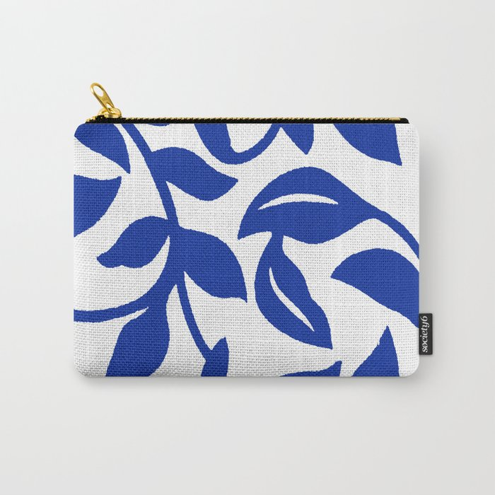 PALM LEAF VINE SWIRL BLUE AND WHITE PATTERN Carry-All Pouch