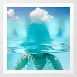 Little girl in water, with clouds Art Print