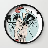 boxer Wall Clocks featuring boxer by Natasha Aldred
