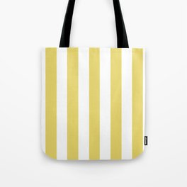 Hansa yellow -  solid color - white vertical lines pattern Tote Bag