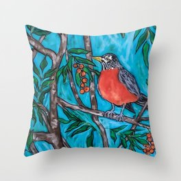 Robin Redbreast in the Mountain Ash Throw Pillow