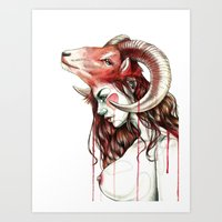 "aries Art Prints featuring ""Aries"" by Mia Desu"