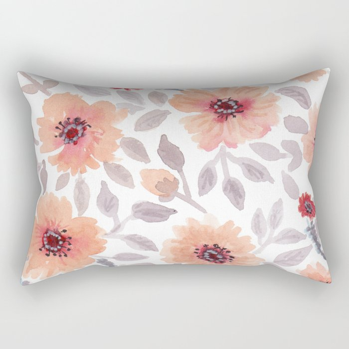Watercolor . Salmon flowers . Rectangular Pillow