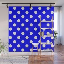 POLKA DOT DESIGN (WHITE-BLUE) Wall Mural