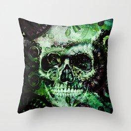 Green skull Throw Pillow