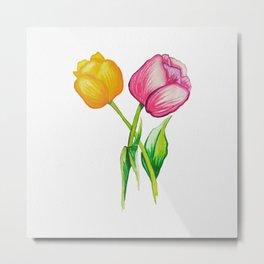 Watercolor Tulips Flowers Metal Print