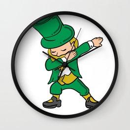 Happy St. Patrick's Day Shirt - Dabbing Leprechaun Wall Clock