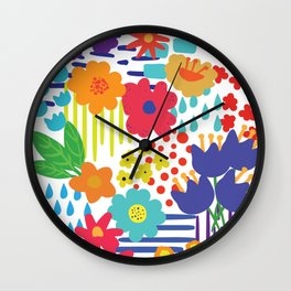 Colorful flowers and Shapes Wall Clock