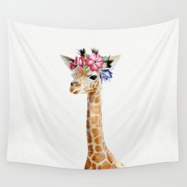 Baby Giraffe with Flower Crown Wall Tapestry