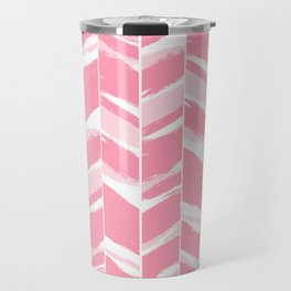 Modern abstract pink geometric brushstrokes chevron pattern Travel Mug