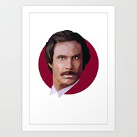 will ferrell Art Prints featuring Ron Burgundy by LinnMaria_ink
