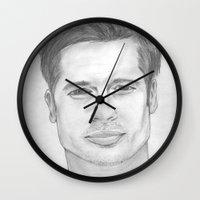 brad pitt Wall Clocks featuring Brad Pitt by Feroz Bukht