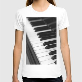 piano keys  black and white T-shirt