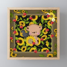 Rustic Sunflowers Bear And Black Crow Ladybugs Framed Mini Art Print