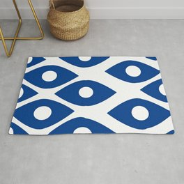 Blue and White Pattern Fish Eye Design Rug