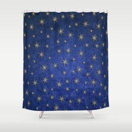 Christmas Starry Night Blue Design Pattern Shower Curtain