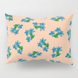 Tiny Blue Flowers on Peach Pillow Sham