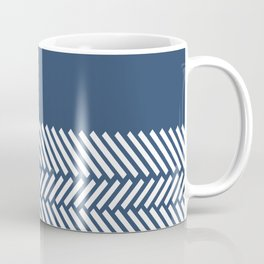Herringbone Boarder Navy Coffee Mug