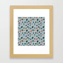 Coonhound in winter hats Framed Art Print