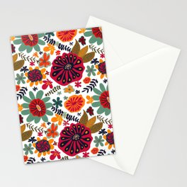 Bright Playful Flowers, white background Stationery Cards