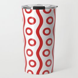Mid Century Modern Rising Bubbles Pattern Red 2 Travel Mug