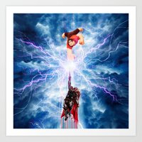 wreck it ralph Art Prints featuring THOR vs RALPH by Raisya
