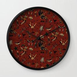 Retro tattoo, sailor tattoos, pin up, rockabilly red Wall Clock