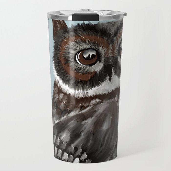 Adorable Owl In Blue Travel Mug