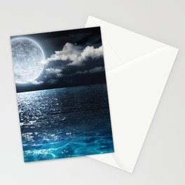 Full Moon over Ocean Stationery Cards