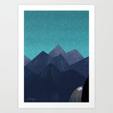 Mountain path at night Art Print