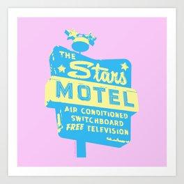 Seeing Stars ... Motel ... (Pink Background) Art Print
