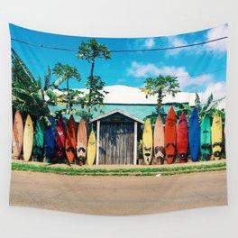 Surfboard Rainbow Wall Tapestry