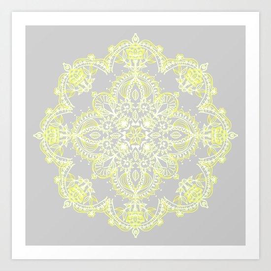 Pale Lemon Yellow Lace Mandala on Grey Art Print