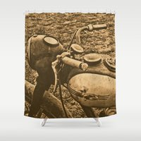 motorcycle Shower Curtains featuring Jawa motorcycle by AhaC