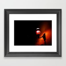 Red Streetlight Framed Art Print