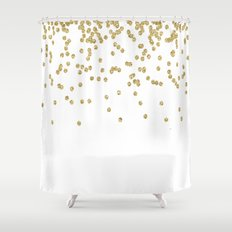 Sparkling golden glitter confetti - Luxury design Shower Curtain