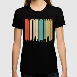 Retro 1970's Style New Rochelle New York Skyline T-shirt