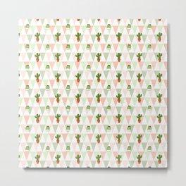 Hand painted pink coral green geometrical cactus Metal Print